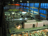 Steam turbines, machinery, pipes, tubes at a power plant — Stock Photo