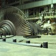 Steam turbine during repair, machinery, pipes, tubes at a power — Stock Photo