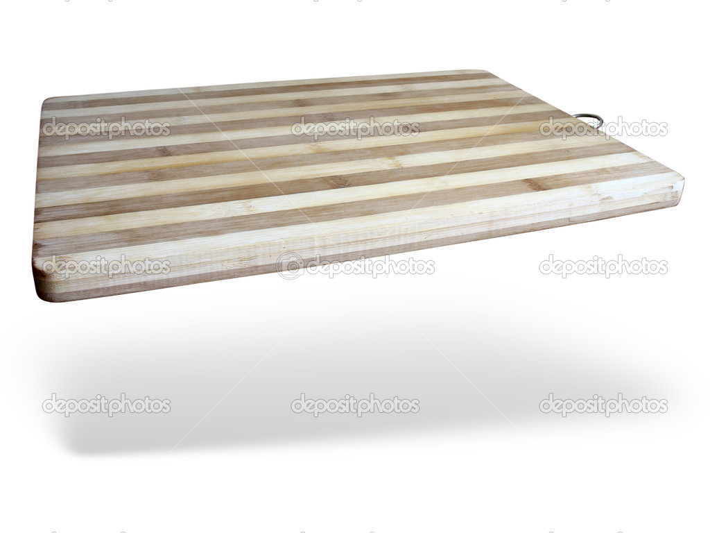 Old wooden kitchen board over white background  Stock Photo #5315969