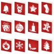 Stock Vector: Red christmas cards
