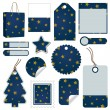 Blue and gold christmas tags - Stock Vector