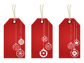 Red christmas tags — Stock Vector