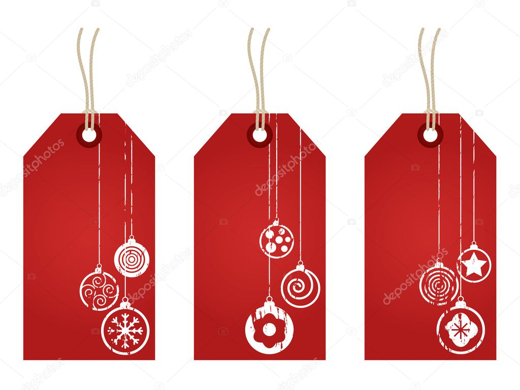 Red christmas tags with festive decoration stamps isolated on white  Stock Vector #3927676