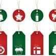 Red and green christmas tags — Stock Vector #3931019