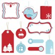 Red and blue christmas tags — Stock Vector