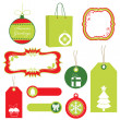 Stock Vector: Red and green christmas tags