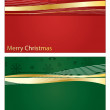 Red and green christnas banners — Stock Vector