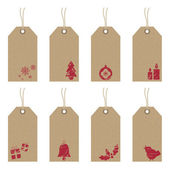 Christmas tags with icons — Vector de stock