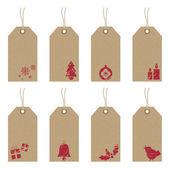 Kerstmis tags met pictogrammen — Stockvector