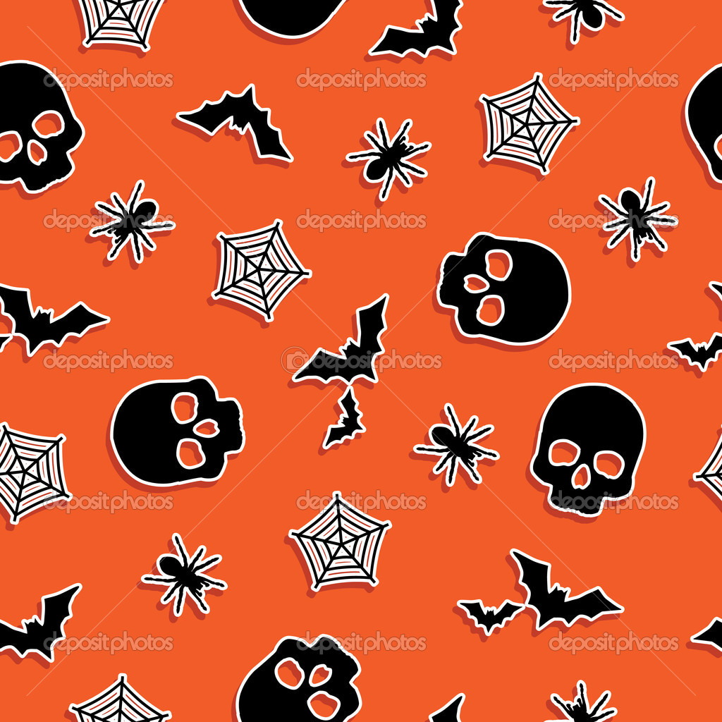 Seamless orange halloween pattern with clipping mask  Stock Vector #4001442