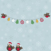 Christmas robins — Stock Vector