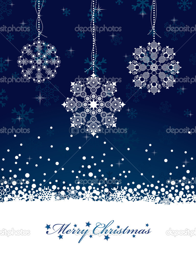 Blue snowflake christmas background with decorations and banner for text — Stock Vector #4081535