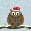 Christmas owl — Stock Vector