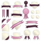 Pink ribbons and seals — Stock Vector