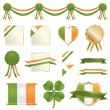 Stock Vector: St patricks day ribbons and seals