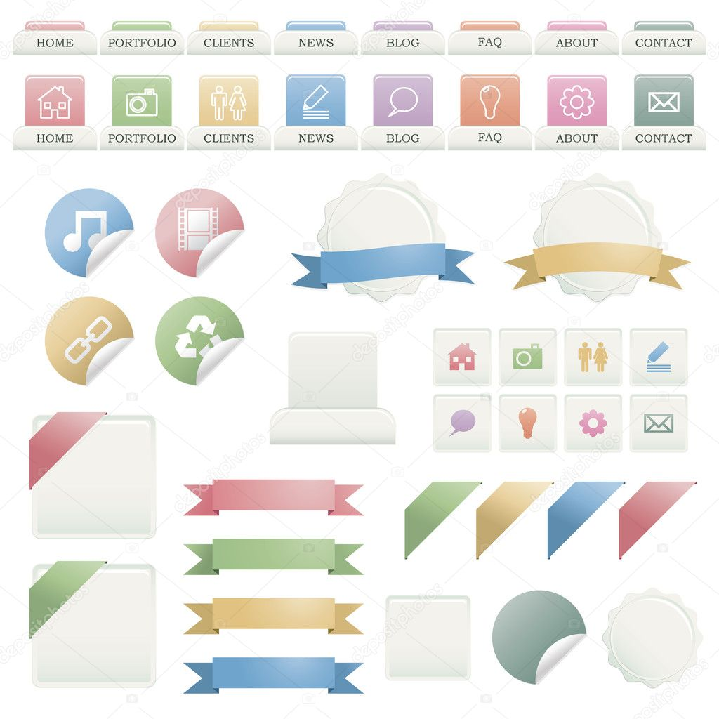 Web buttons, navigation bar, stickers and ribbons isolated on white — Stock Vector #4901363