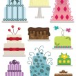 Decorated cakes — Stockvektor