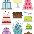Decorated cakes — Stockvectorbeeld