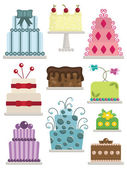 Decorated cakes — Stock Vector
