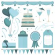 Blue party objects - Imagen vectorial
