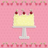 Cherry cake — Stock Vector