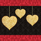 Gold glitter hearts — Vector de stock