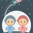 Space boy and girl — Stock Vector