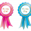 Birthday rosettes - Stock Vector