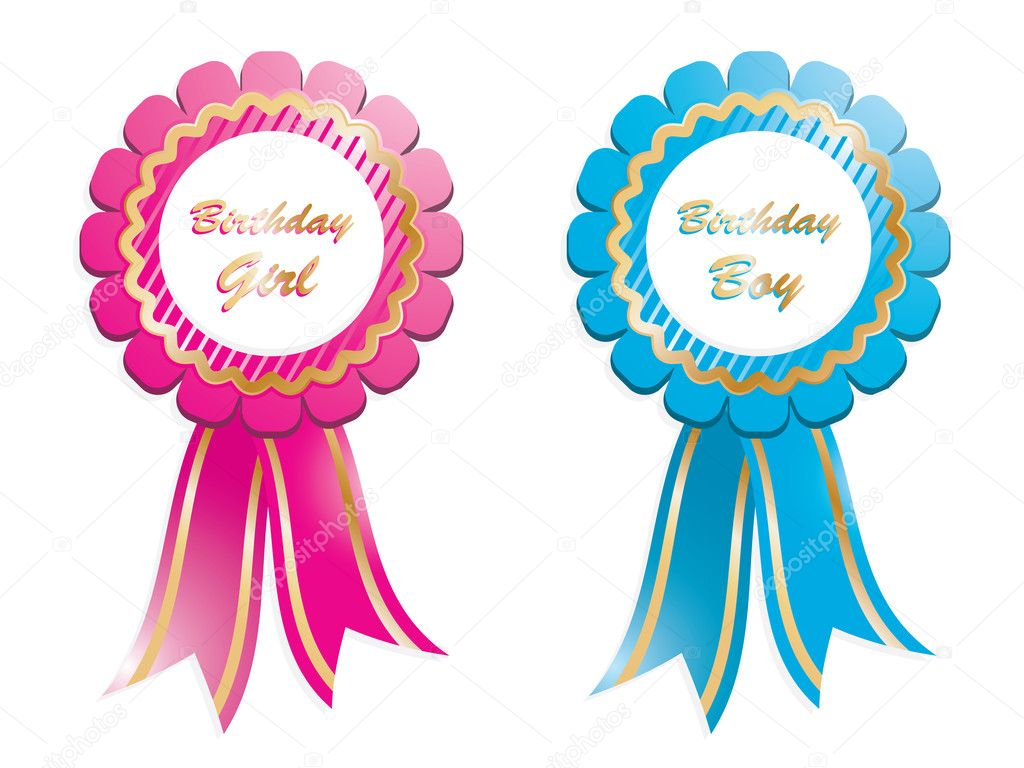 Birthday rosette for boy and girl, isolated on white — Stock Vector #5290924