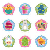 Easter badges — Stock Vector
