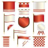 Bandiere rosse e bianche — Vettoriale Stock