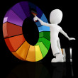 3d man and a color wheel — Stock Photo #4282197