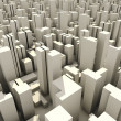 3d skyline of a crowd city, aerial view — Stock Photo #4282355