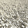 Stock Photo: 3d skyline of a crowd city, aerial view