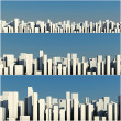 3d skyline of a crowd city, aerial view — Stock Photo