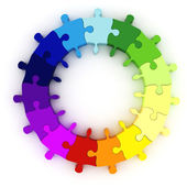 3d colorful puzzle chart wheel — Stock Photo