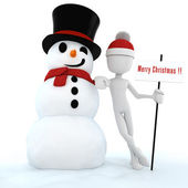 3d man and snow man , merry christmas ! — Stock Photo