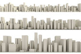 3d skyline of a crowd city, aerial view — ストック写真
