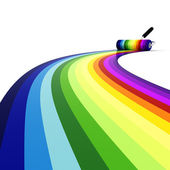 3d roller over rainbow — Stock Photo