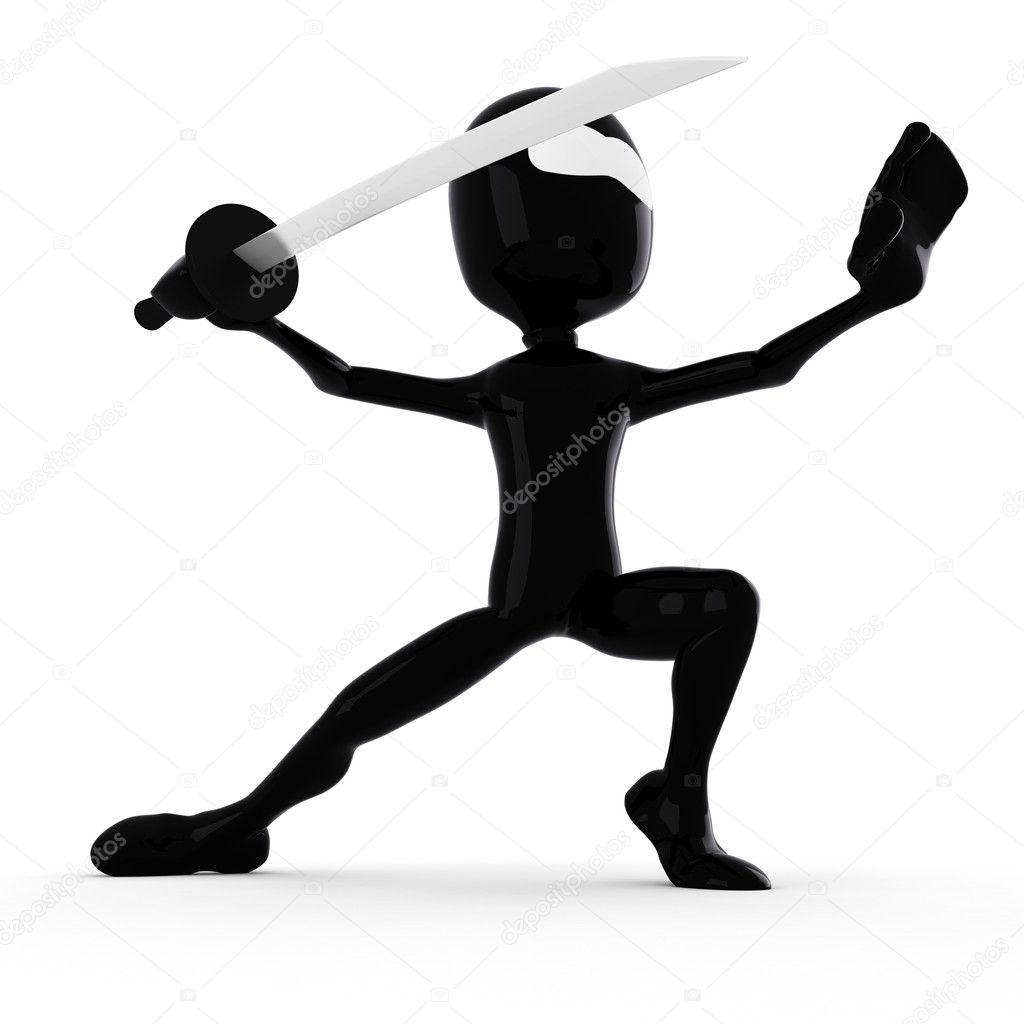 3d man ninja, holding a katana:) — Stock Photo #4282315