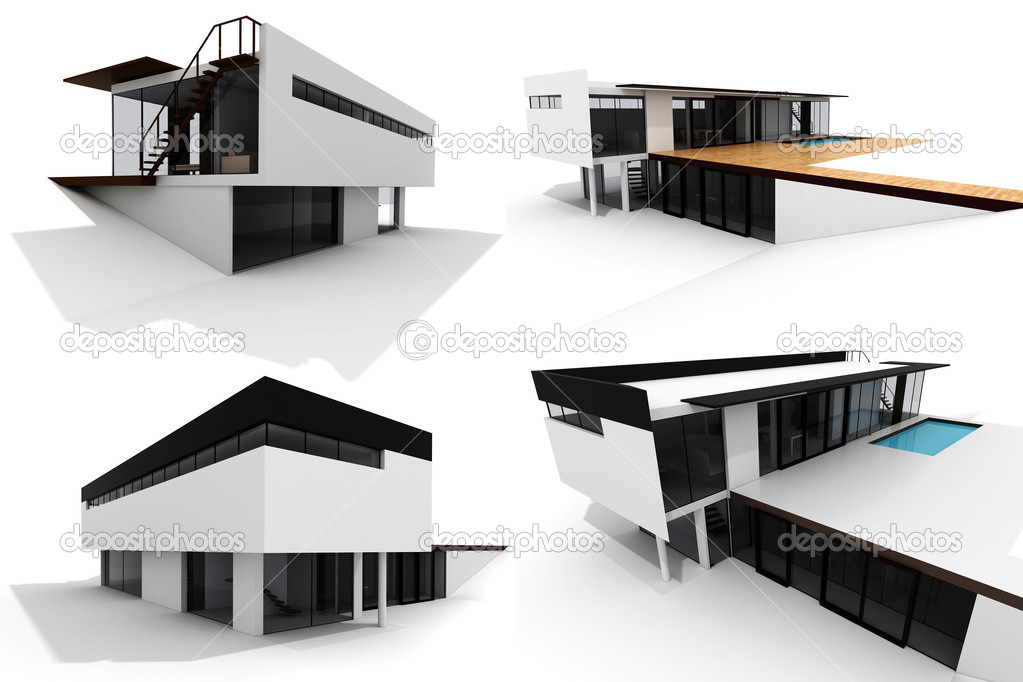 3d modern house, isolated on white — Stock Photo #4282366