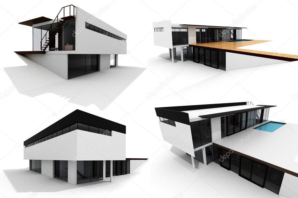 3d modern house isolated on white stock photo 4282366 for Hausplan modern