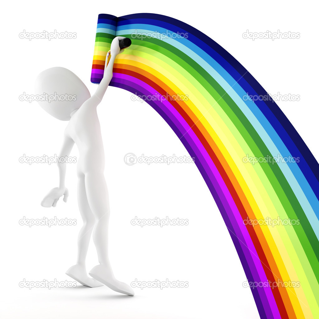 3d man painting a rainbow — Stock Photo #4282398
