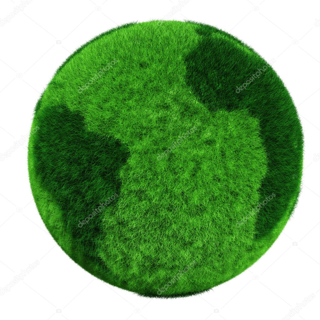 3d earth globe made of grass  Stock Photo #4282406