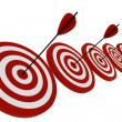 Stock Photo: 3d target and arrows, isolated on white