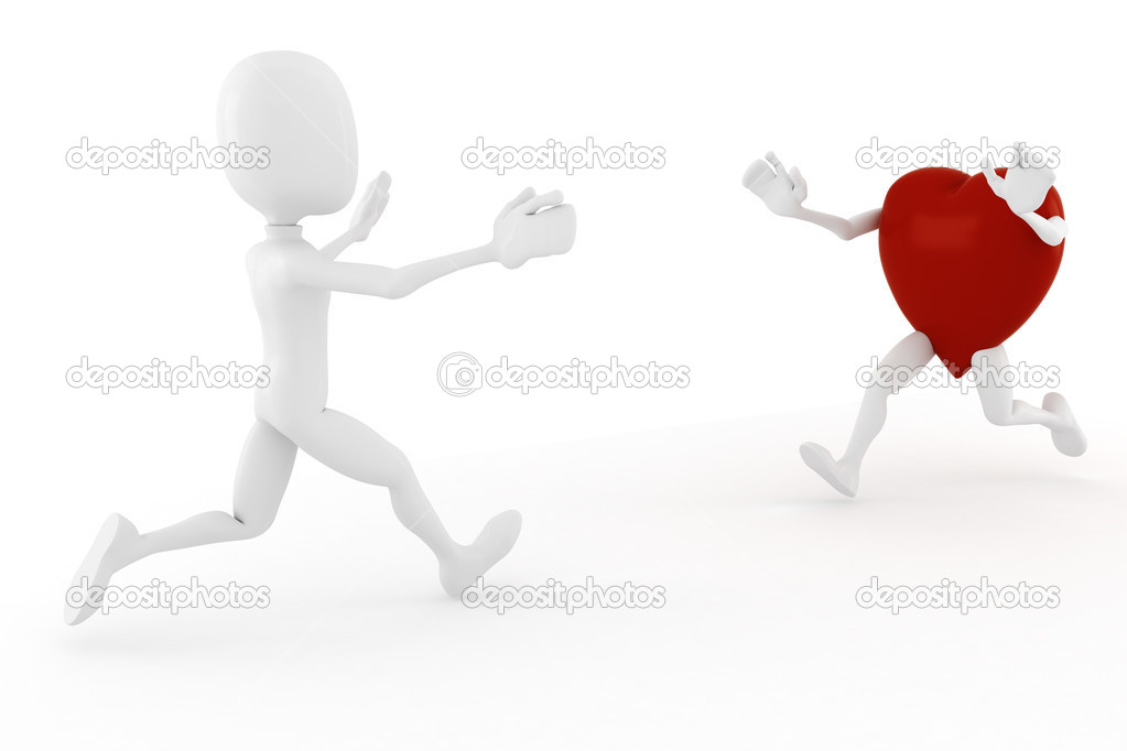 3d man and a hart running toward wachother  Stock Photo #4640540