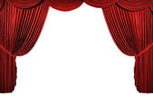 3d stage render, red curtain — Stock Photo