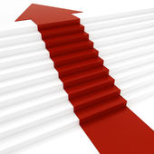 3d red arrow on white stair — Stock Photo