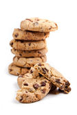 Chocolate chips cookies, on white background — Stock Photo