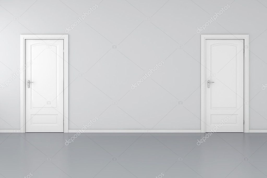 3d interior with 2 white doors and grey walls — Stock Photo #5251664
